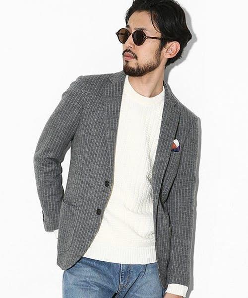 グレーテーラードジャケットのメンズコーディネート