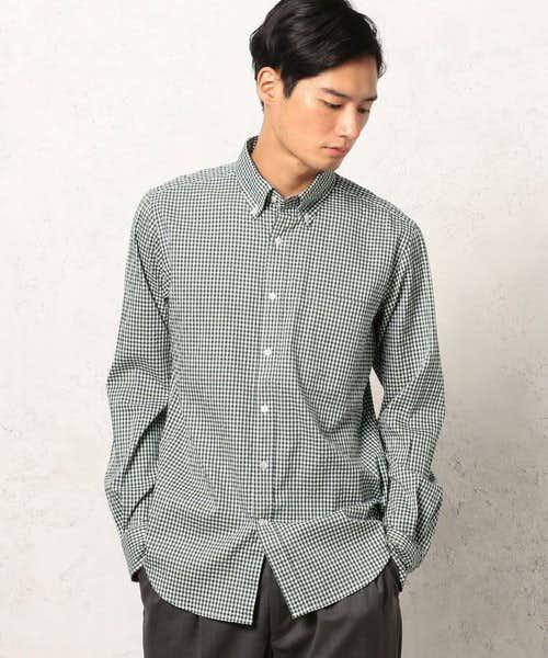 緑のギンガムチェックシャツ