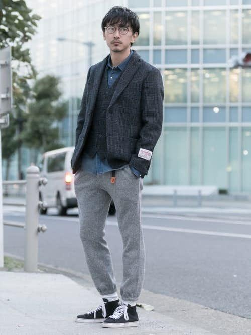 ジャケットとジョガーパンツのおしゃれメンズコーディネート