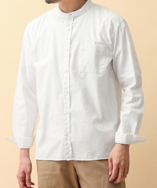 コーディネートで使われていロングバンドカラーシャツ