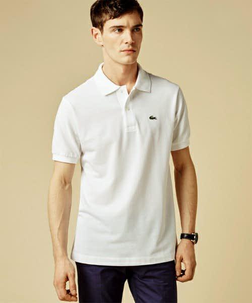 ラコステの白の半袖ポロシャツ