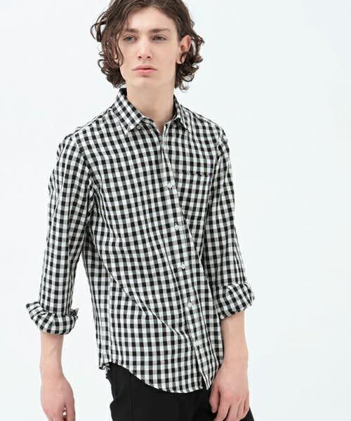KOEのギンガムチェックシャツ