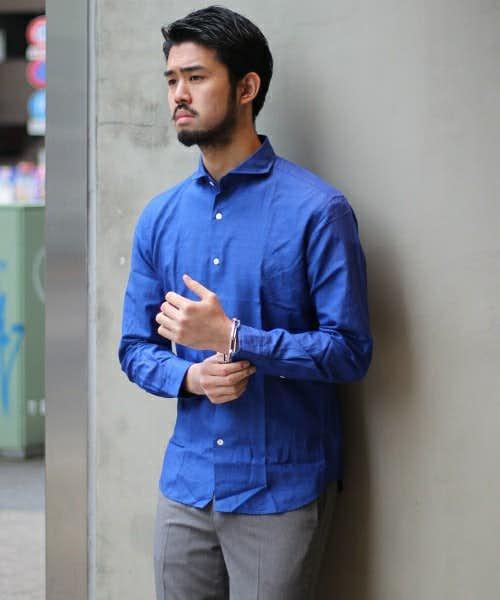 EDIFICEの青シャツ