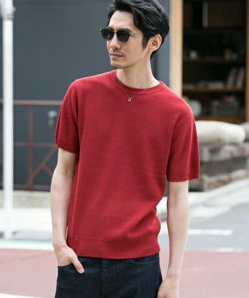 度詰めの丈夫でTシャツっぽい作りの半袖ニット