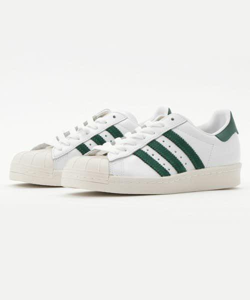 白と緑のアディダススーパースター