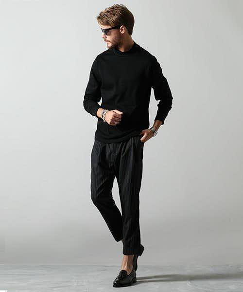 オールブラックの男らしい着こなし