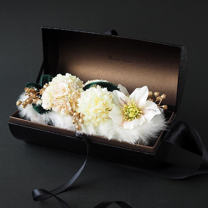 クリスマスプレゼントにおすすめの花束はフラワーバッグ_ホワイトクリスマス