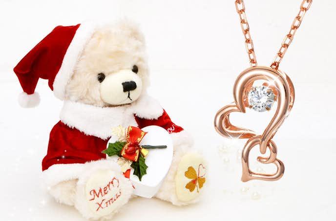 クリスマスプレゼントにテディベアのネックレスセット