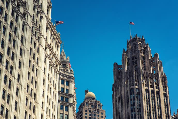 シカゴの観光スポットのトリービュンタワー