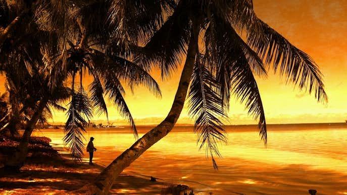 サイパンビーチの夕日の夜景