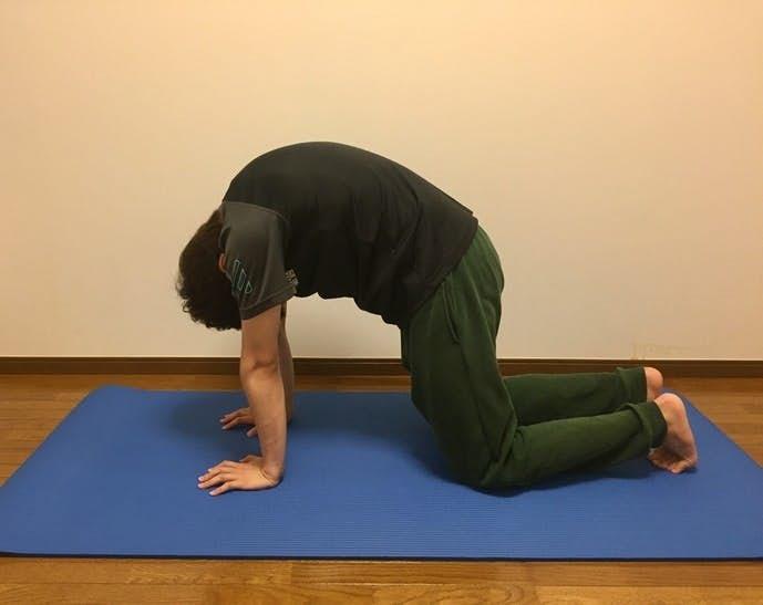 僧帽筋と脊柱起立筋のストレッチ2-1