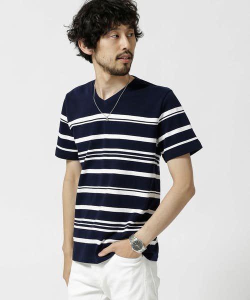 ナノ・ユニバース_ボーダーTシャツ