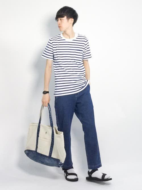 2018年ボーダーTシャツを使った夏服メンズコーディネート