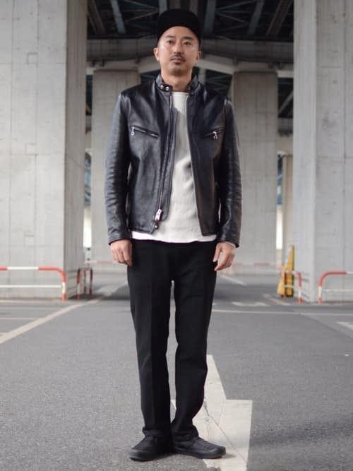 革 ジャン コーデ 黒 ライダースジャケットの着こなし術。上級コーデで男前メンズに。