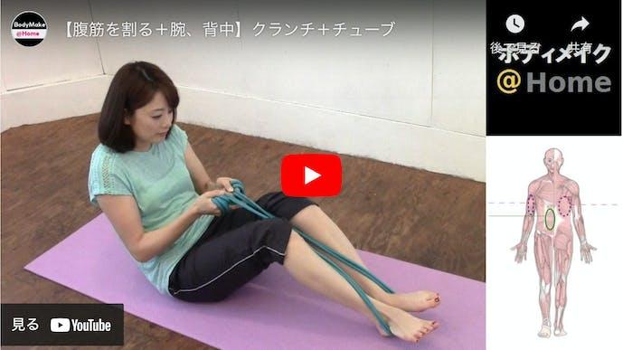 【動画】チューブを使ったクランチのやり方